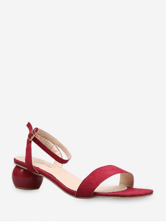 Sandalias de Tacón Extraño Color Sólido - Rojo Lava EU 35