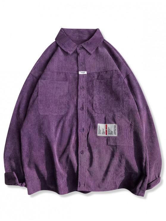 fashion Letter Applique Front Pockets Corduroy Shirt - PURPLE 2XL