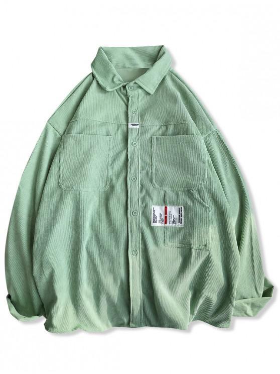 sale Letter Applique Front Pockets Corduroy Shirt - LIGHT GREEN 2XL
