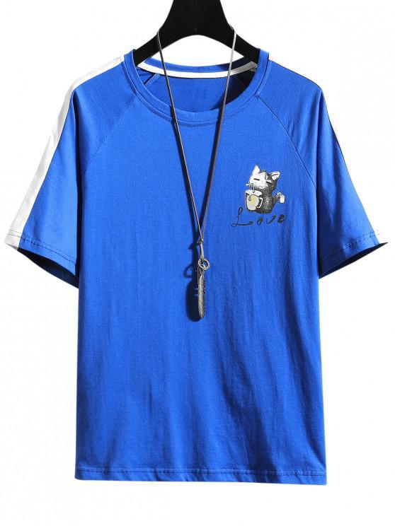 Raglanärmel Katzen Druck Kontrast T-Shirt - Blau XS