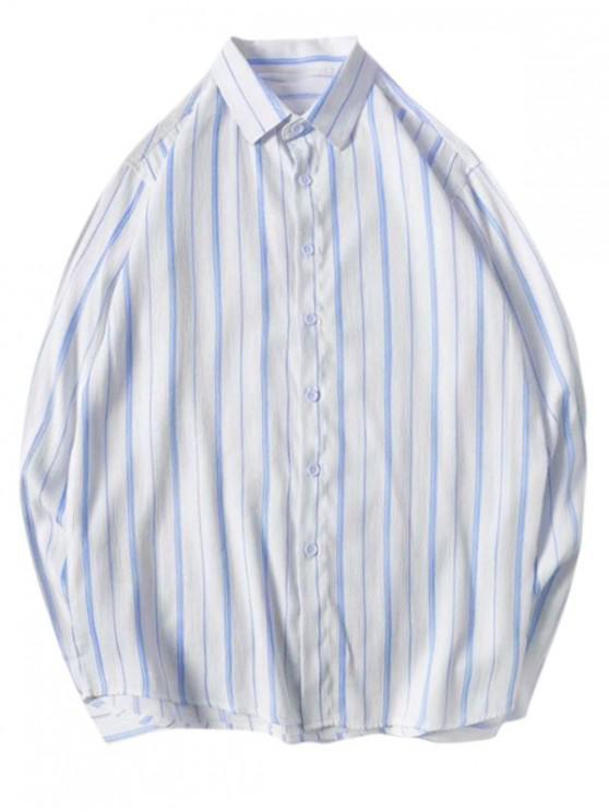 Camisa de Manga Larga de Rayas Ocasional - Cielo Azul Oscuro L
