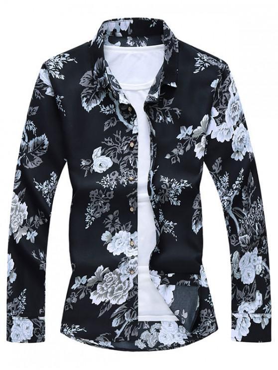 Camisa de Botón de Impresión de Flores - Negro M