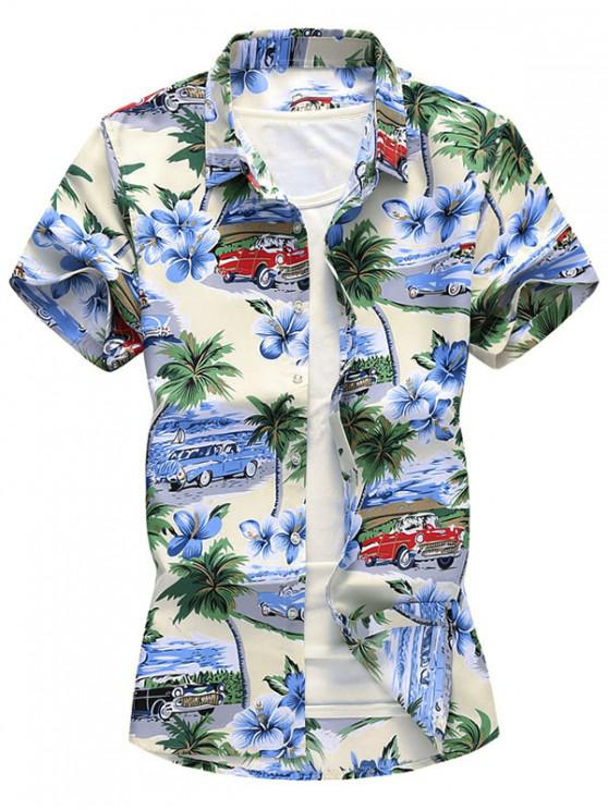 shops Button Down Palm Tree Car Floral Shirt - MULTI-A 2XL