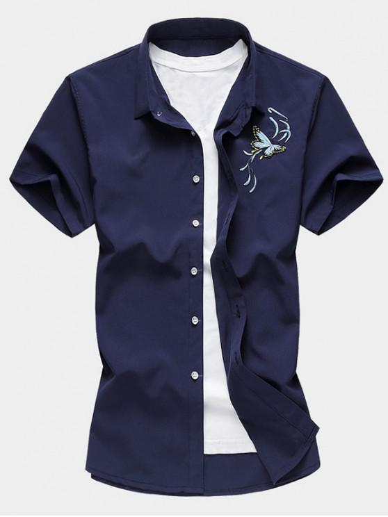 trendy Butterfly Embroidered Button Up Shirt - CADETBLUE 2XL