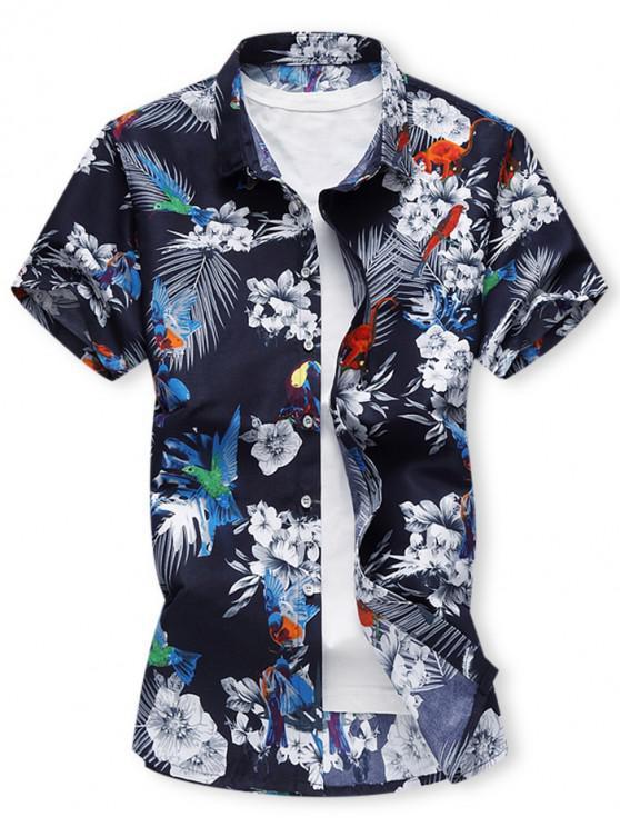 Camisa Hawaiana con Botones con Estampado Floral - Multicolor-A L