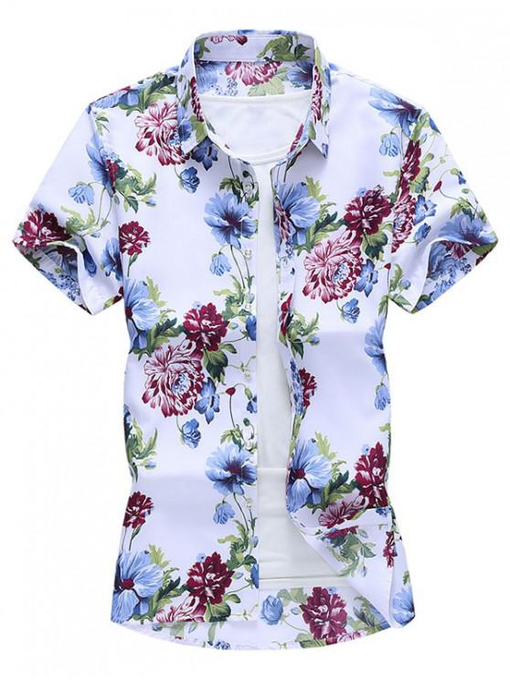 Camisa Manga Corta Diseño Impreso Floral Botón - Multicolor-A M