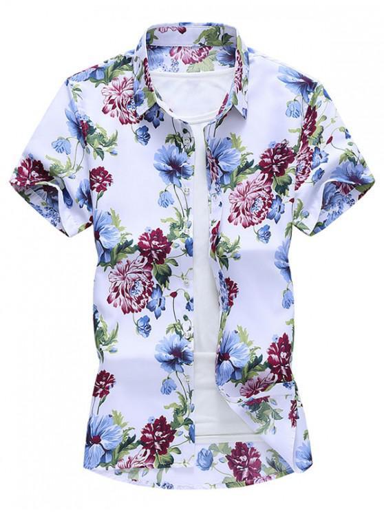 Camisa Manga Corta Diseño Impreso Floral Botón - Multicolor-A L