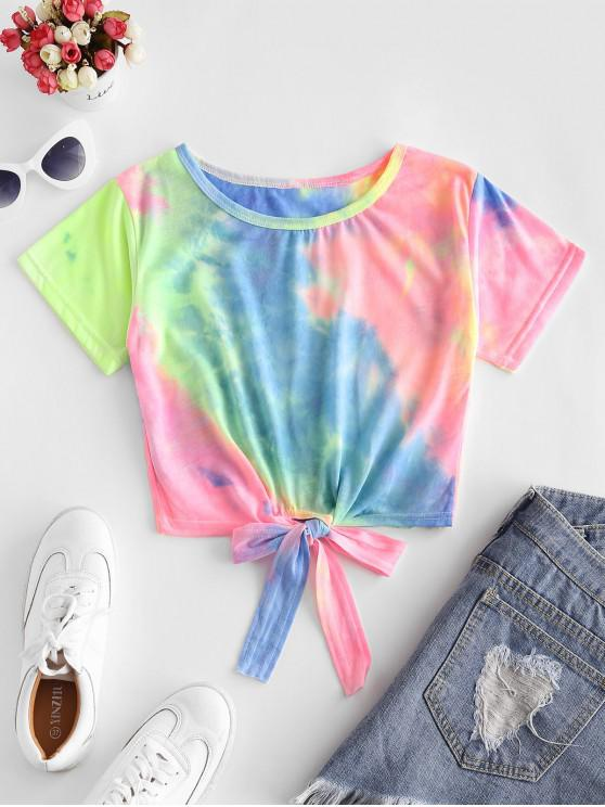 women's Colorful Tie Dye Tie Hem Tee - MULTI-A M