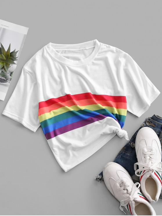 outfit Rainbow Striped Short Sleeves Crop Tee - WHITE L