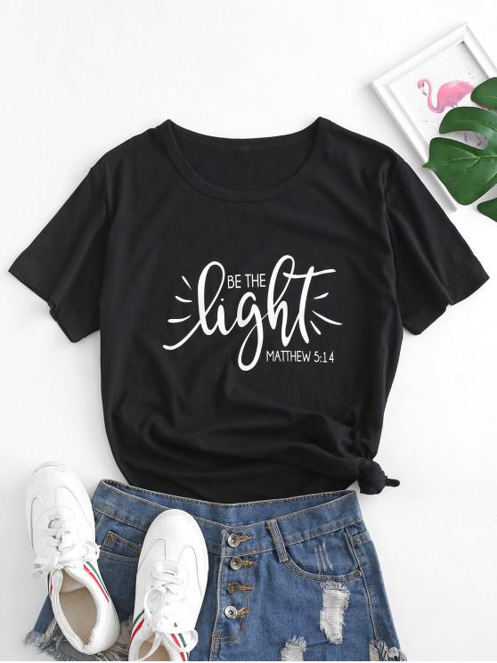 women's Basic Be The Light Graphic Cotton Tee - BLACK 2XL