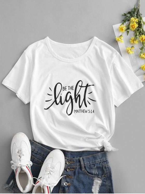outfits Basic Be The Light Graphic Cotton Tee - WHITE 2XL