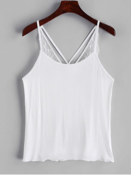 fashion Strappy Lace Panel Ribbed Cami Top - WHITE ONE SIZE