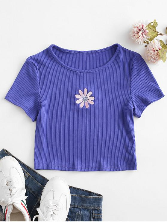 hot Floral Embroidered Ribbed Crop Tee - LIGHT SLATE BLUE S