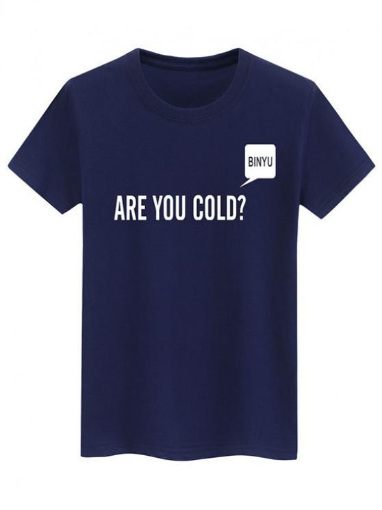 affordable Letters Print Casual Slogan T-shirt - BLUE S