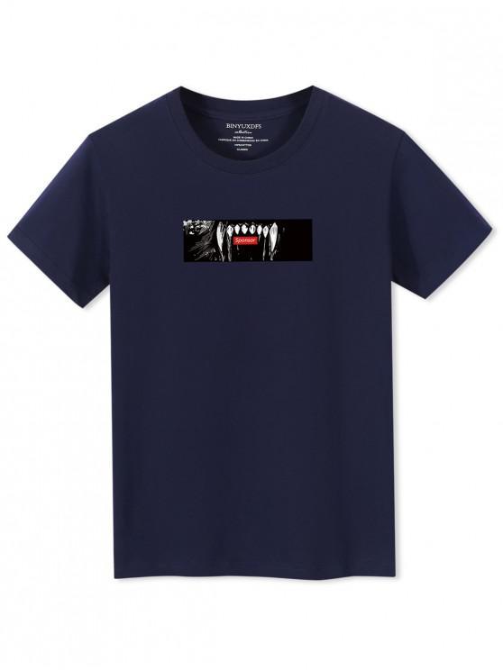 T-shirt a Maniche Corte con Grafica di Denti - Cadetblue XS