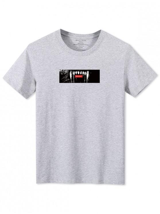 T-shirt a Maniche Corte con Grafica di Denti - Grigio XS