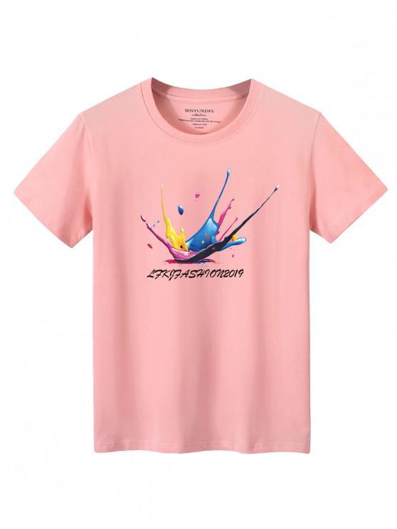 women Splatter Graphic Lounge Crew Neck T Shirt - LIGHT PINK XL