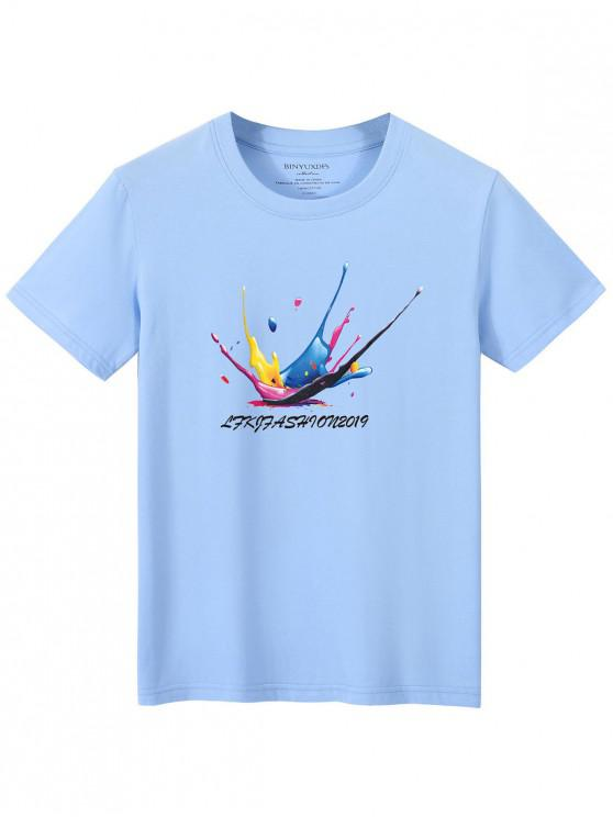 chic Splatter Graphic Lounge Crew Neck T Shirt - LIGHT BLUE XL