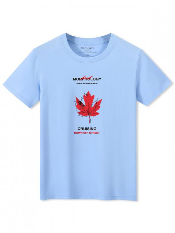 shops Maple Leaf Letters Print Casual T-shirt - LIGHT BLUE XL
