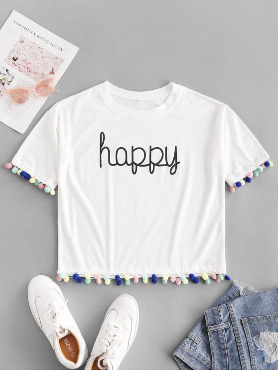 hot Colorful Pompoms Happy Graphic Tee - WHITE L