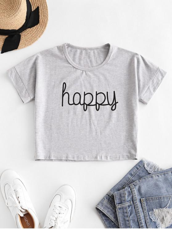 best Cropped Happy Graphic Basic Tee - GRAY L