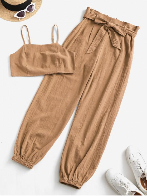 shop ZAFUL Smocked Back Cropped Belted Jogger Paperbag Pants Set - ORANGE GOLD L