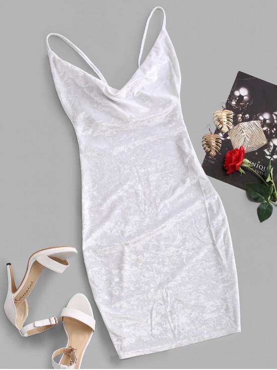ladies Cowl Front Velvet Bodycon Dress - WHITE L
