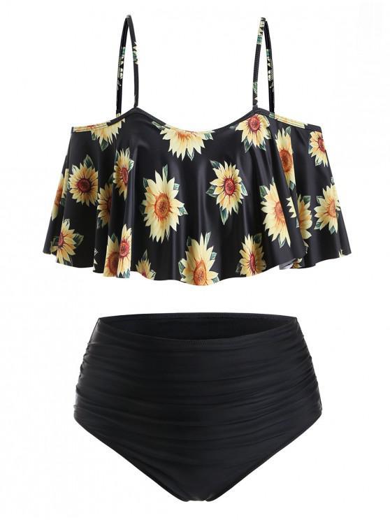 hot ZAFUL High Waisted Cold Shoulder Sunflower Plus Size Tankini Swimwear - BLACK 3X