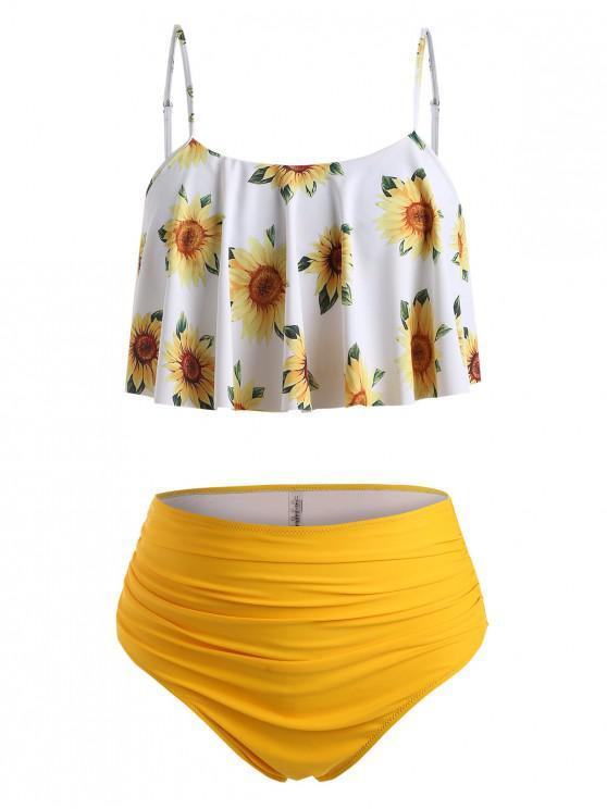 ZAFUL Rüschen Sonnenblumen Übergröße Tankini Badebekleidung mit Hoher Taille - Dunkel Gelb 2X