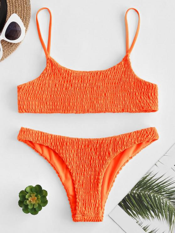 lady Smocked Bikini Top and Bottoms - ORANGE S