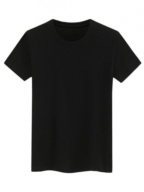 outfit Short Sleeve Plain Tee - BLACK M