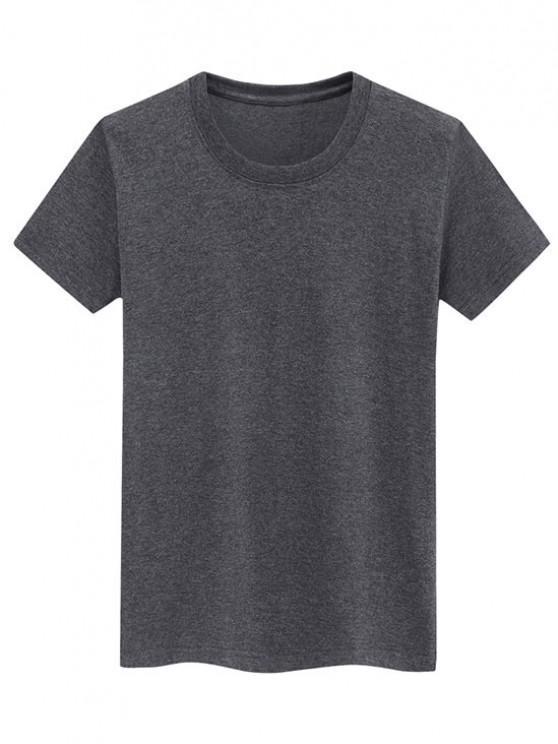 Short Sleeve Plain Tee - الرمادي الداكن XL