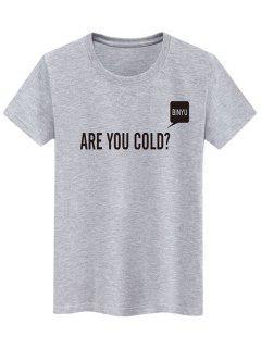 T-shirt Décontracté Lettre Slogan Imprimés - Gris Xs