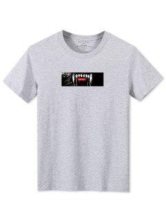 Tier Spielbuchstabedruck Fallschulter T-Shirt - Grau Xl