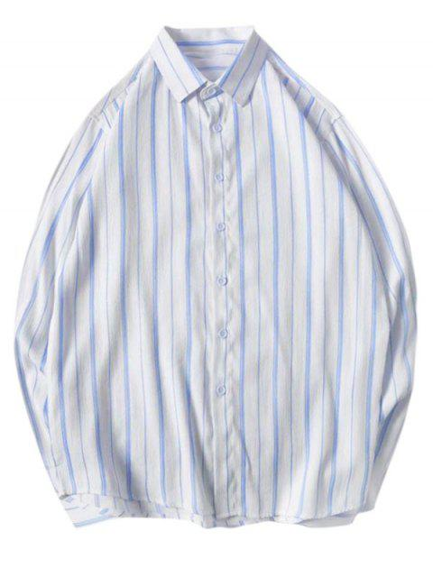 buy Long Sleeves Casual Pinstriped Shirt - DEEP SKY BLUE XS Mobile