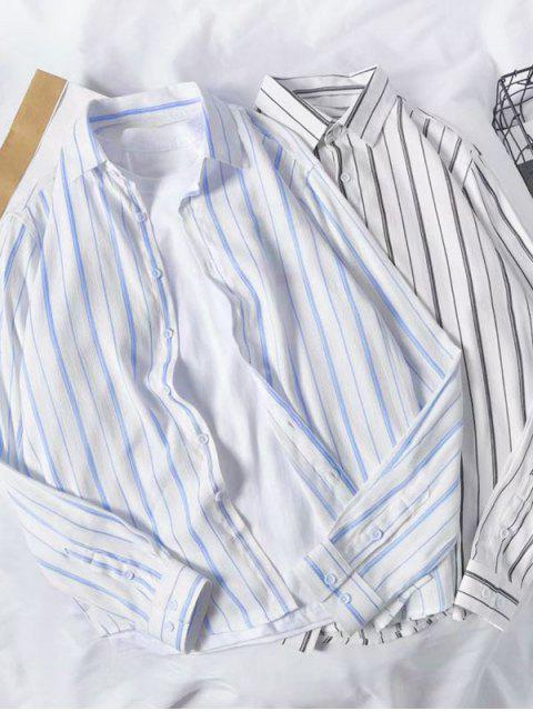 Camisa de Manga Larga de Rayas Ocasional - Cielo Azul Oscuro M Mobile
