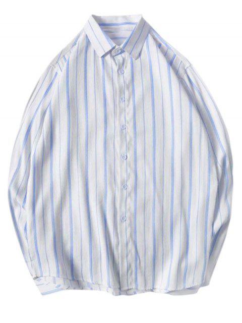 Camisa de Manga Larga de Rayas Ocasional - Cielo Azul Oscuro L Mobile