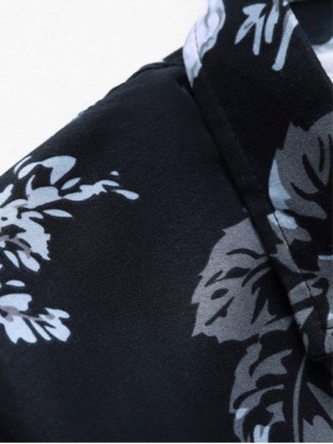 Camicia Stampata Floreale con Bottoni - Nero S Mobile