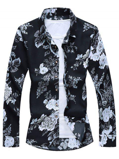 women Flower Print Button Up Shirt - BLACK M Mobile