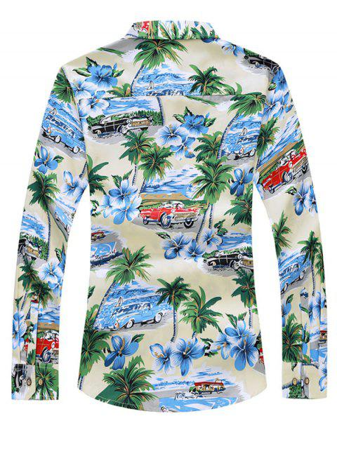 best Button Down Leave Palm Tree Car Print Shirt - MULTI-A XS Mobile