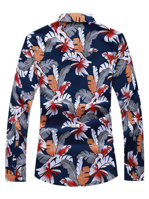 affordable Button Down Birds Leaves Print Shirt - RED XS Mobile
