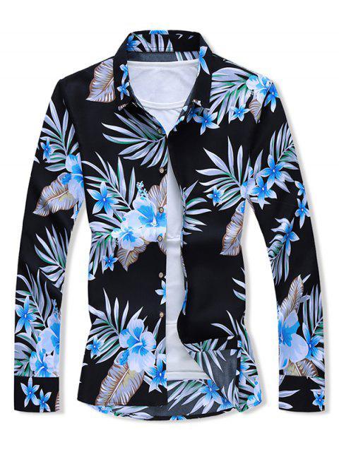 Camisa Estampado Hojas y Flores - Negro 2XL Mobile