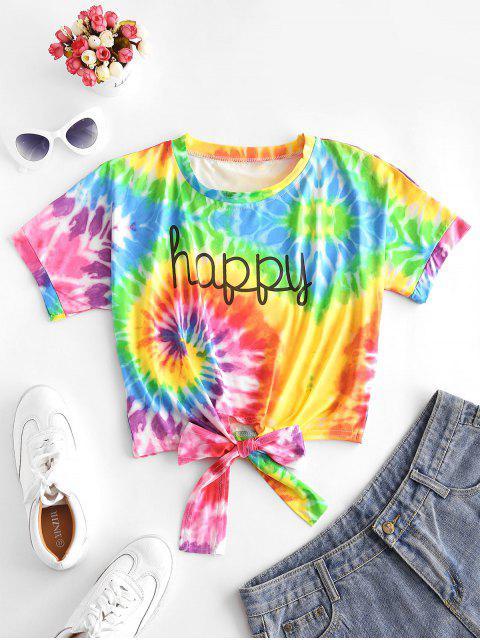 グラフィックタイ裾レインボータイダイTシャツ - マルチA M Mobile