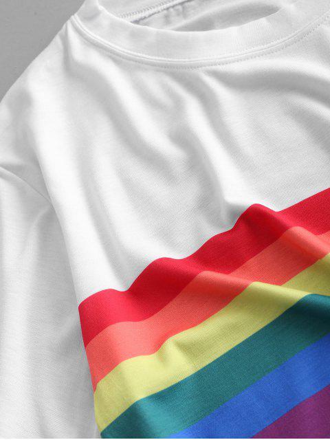 T-shirt Court Rayure Arc-en-ciel à Manches Courtes - Blanc S Mobile