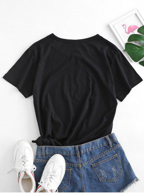 T-shirt de Base Graphique Lampe en Coton - Noir M Mobile