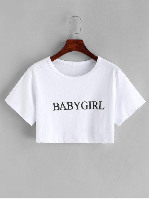 基本的な女の赤ちゃんグラフィッククロップTシャツ - 白 L Mobile