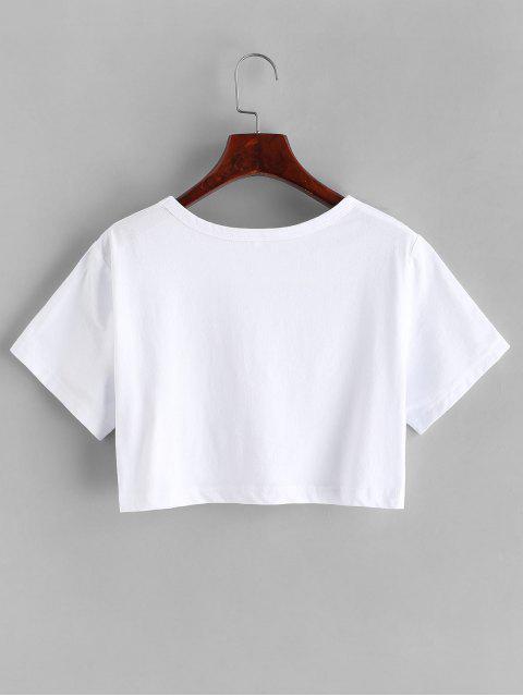 Camiseta Básico com Estampa Gráfica de Menina de Básico Cortado - Branco L Mobile