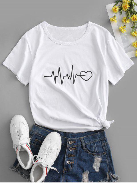 T-shirt de Base Graphique Cœur à Manches Courtes - Blanc 2XL Mobile