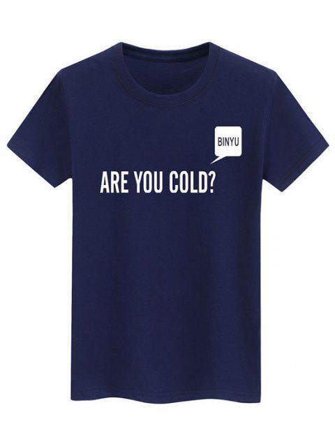 Buchstabendruck Lässiges Slogan T-Shirt - Blau XS Mobile