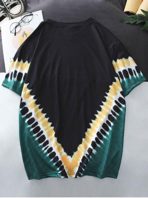 buy Tie Dye Short Sleeves T Shirt - BLACK XL Mobile